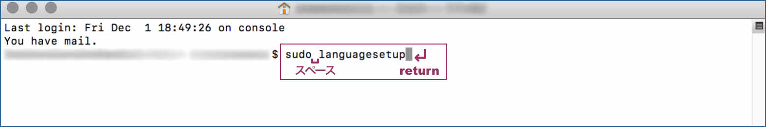 sudo languagessetup を入力